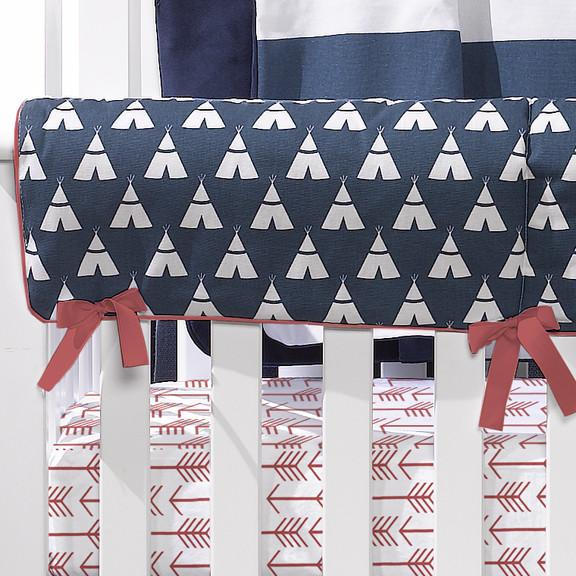 Liz & Roo Navy Teepee Crib Rail Cover