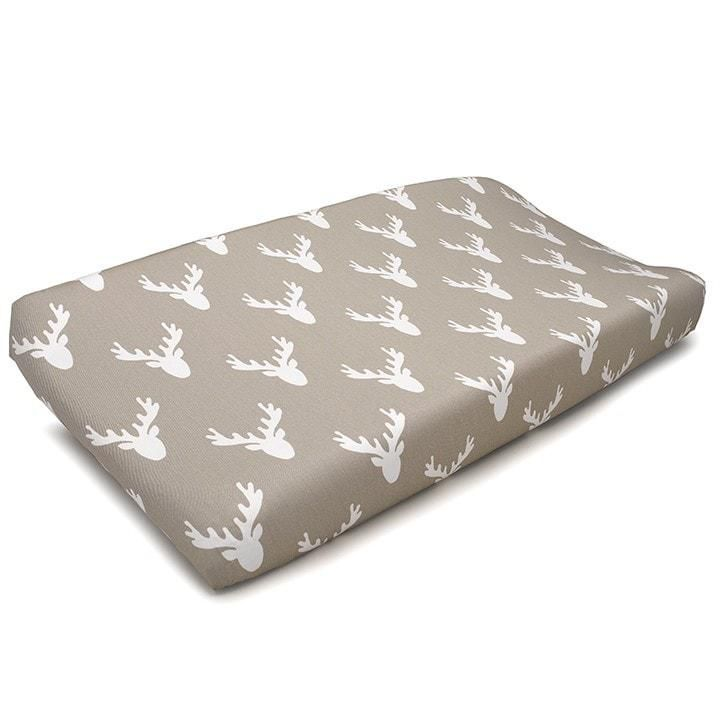 Liz & Roo Buck Woodland Taupe Changing Pad Cover