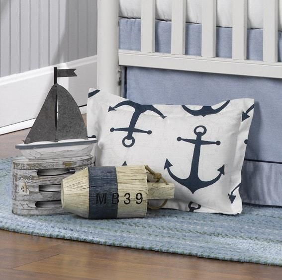 Liz and Roo Navy Anchors Baby Pillow
