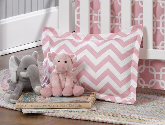 Liz and Roo Pink Chevron Baby Sham