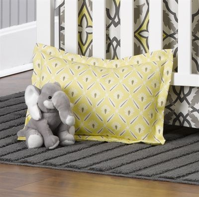 Liz & Roo Gray and Yellow Clover Baby Sham