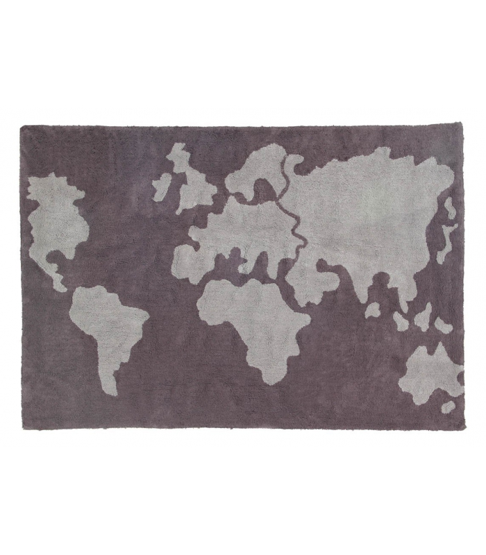 Lorena Canals World Map Dark Grey Rug