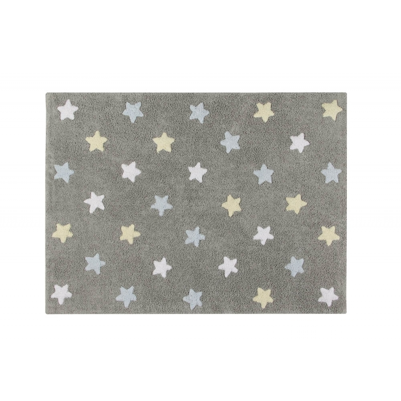 Lorena Canal Tricolor Stars Grey and Blue Rug