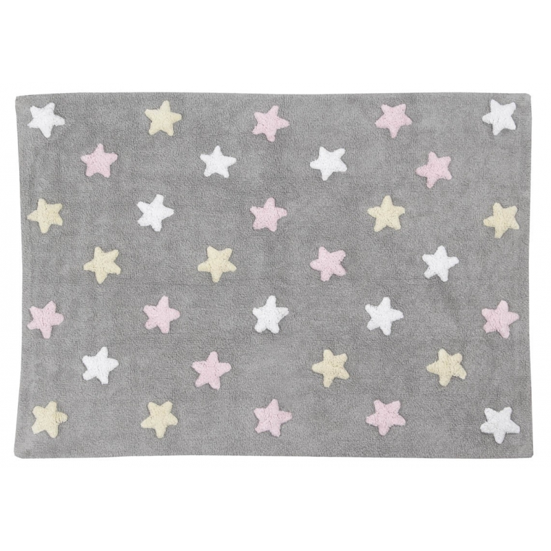 Lorena Canal Tricolor Stars Grey and Pink Rug