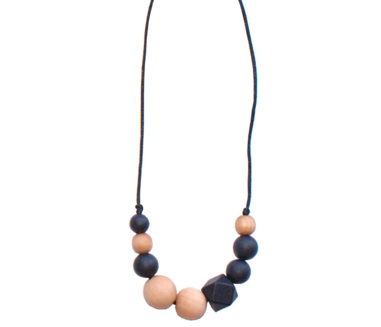 LouLou Lollipop Quadra Wood + Silicone Teething Necklace, Black