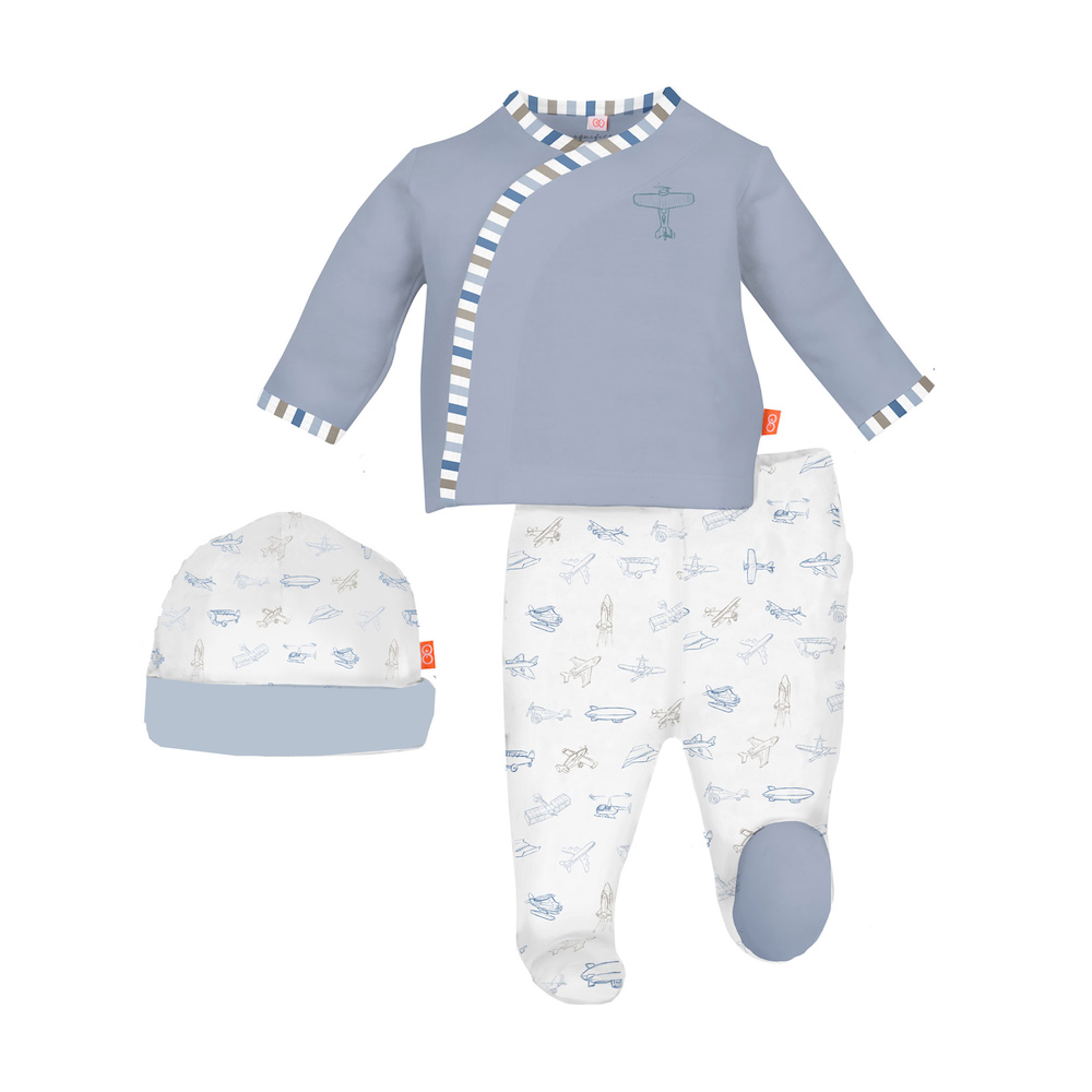 Magnetic Me Airplanes Magnetic 3 Piece Kimono Set -  Newborn