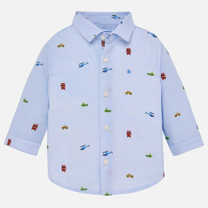Mayoral Long Sleeved Patterned Boys Shirt - Sky Blue