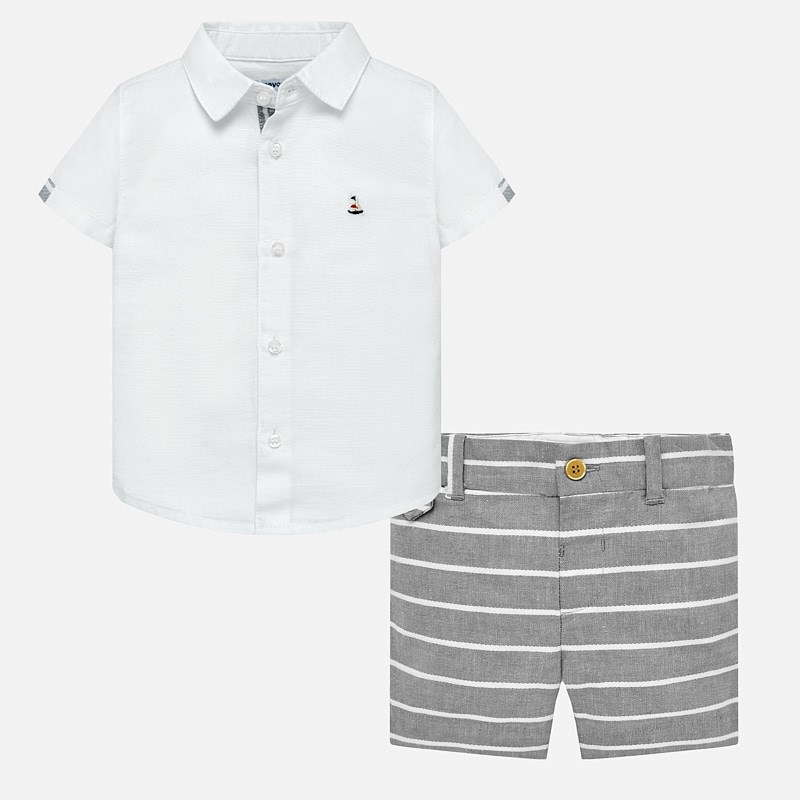 Mayoral Linen Shirt + Bermuda Baby Boy Shorts Set Grey