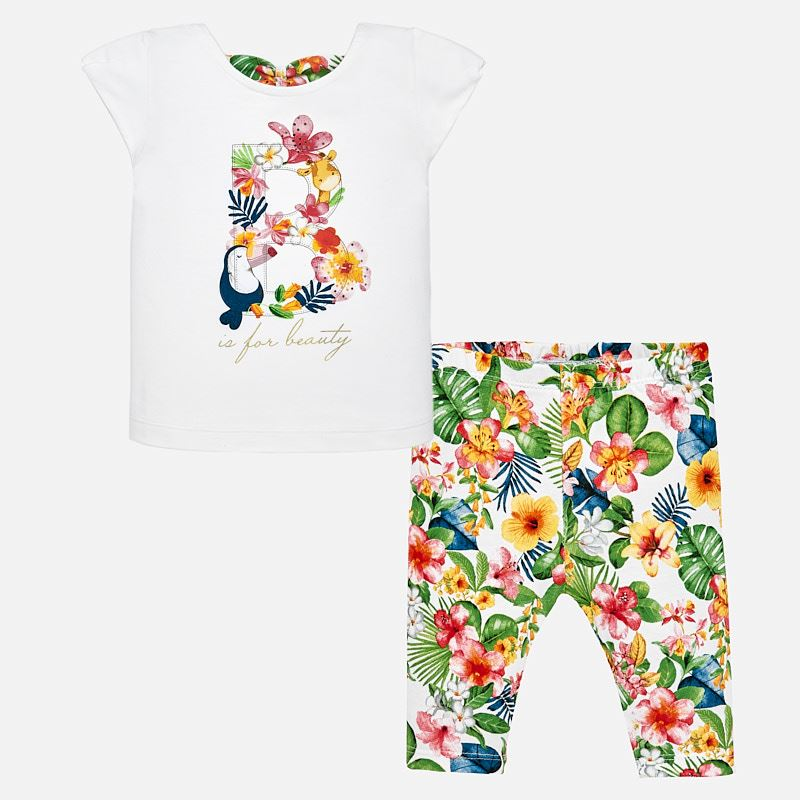 Mayoral Tropical T-Shirt + Leggings Set in Geranium