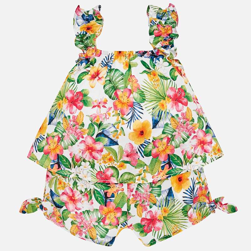 Mayoral Tropical Playsuit in Geranium