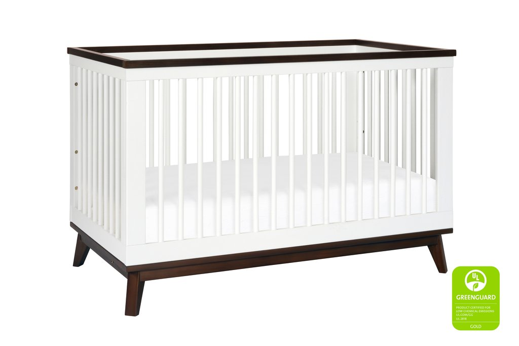 BabyLetto Scoot 3-in-1 Crib - White and Walnut