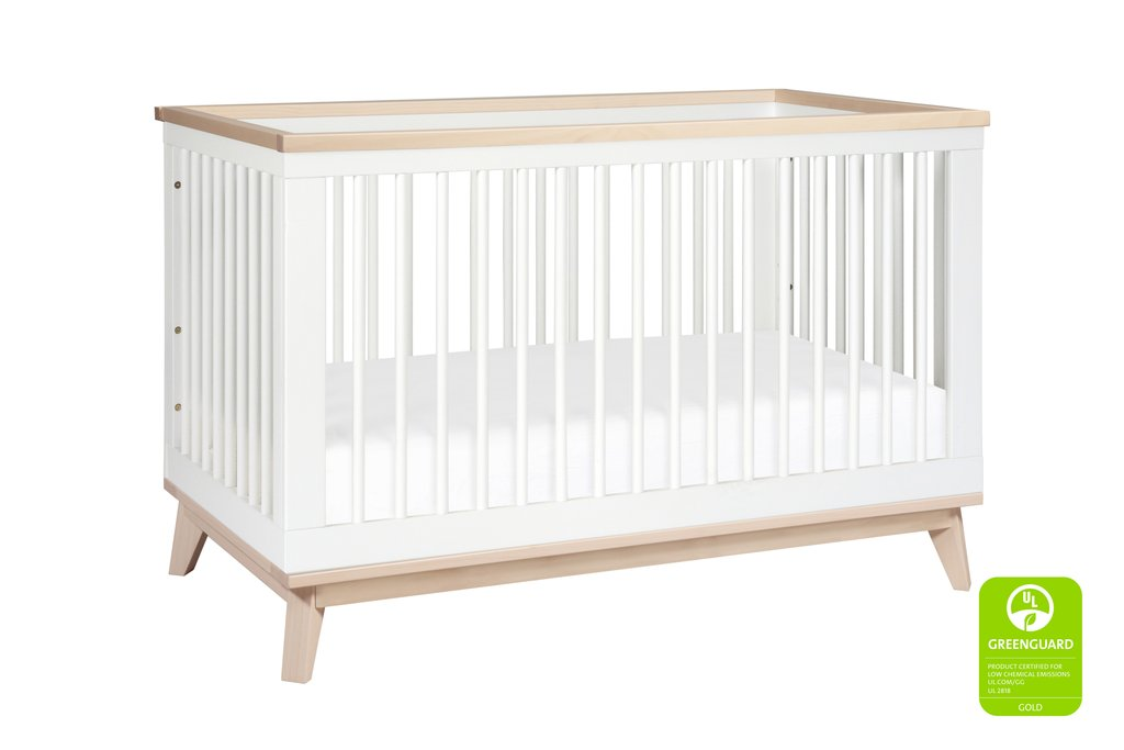 BabyLetto Scoot 3-in-1 Crib - White / Washed Natural
