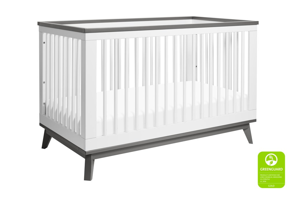 BabyLetto Scoot 3-in-1 Crib - White and Slate