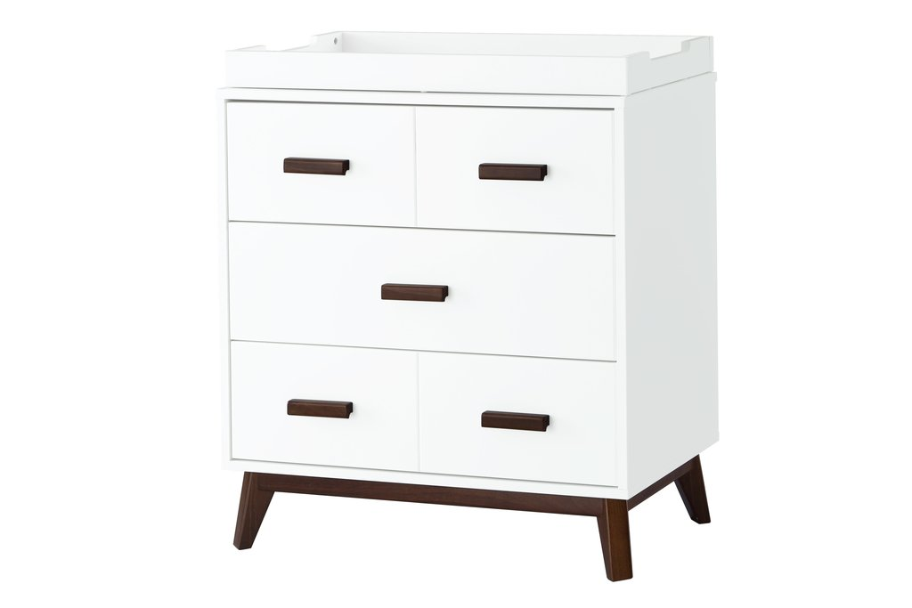 BabyLetto Scoot 3 Drawer Changer Dresser - White / Walnut
