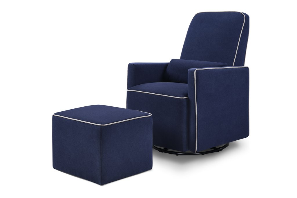 DaVinci Olive Swivel Glider and Ottoman - Navy / Grey Piping
