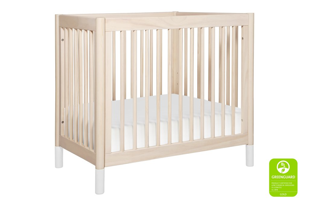 BabyLetto Gelato Mini Crib in Washed Natural with White Feet