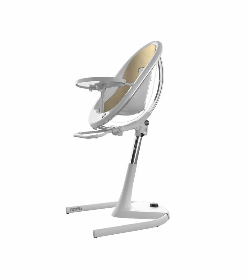 Mima Moon 2G High Chair in White with Champagne Gold
