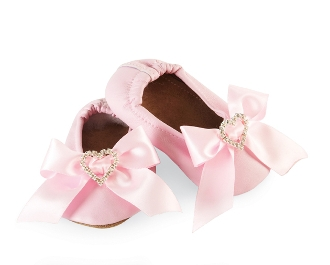 Mud Pie Pretty in Pink Satin Bow Shoes