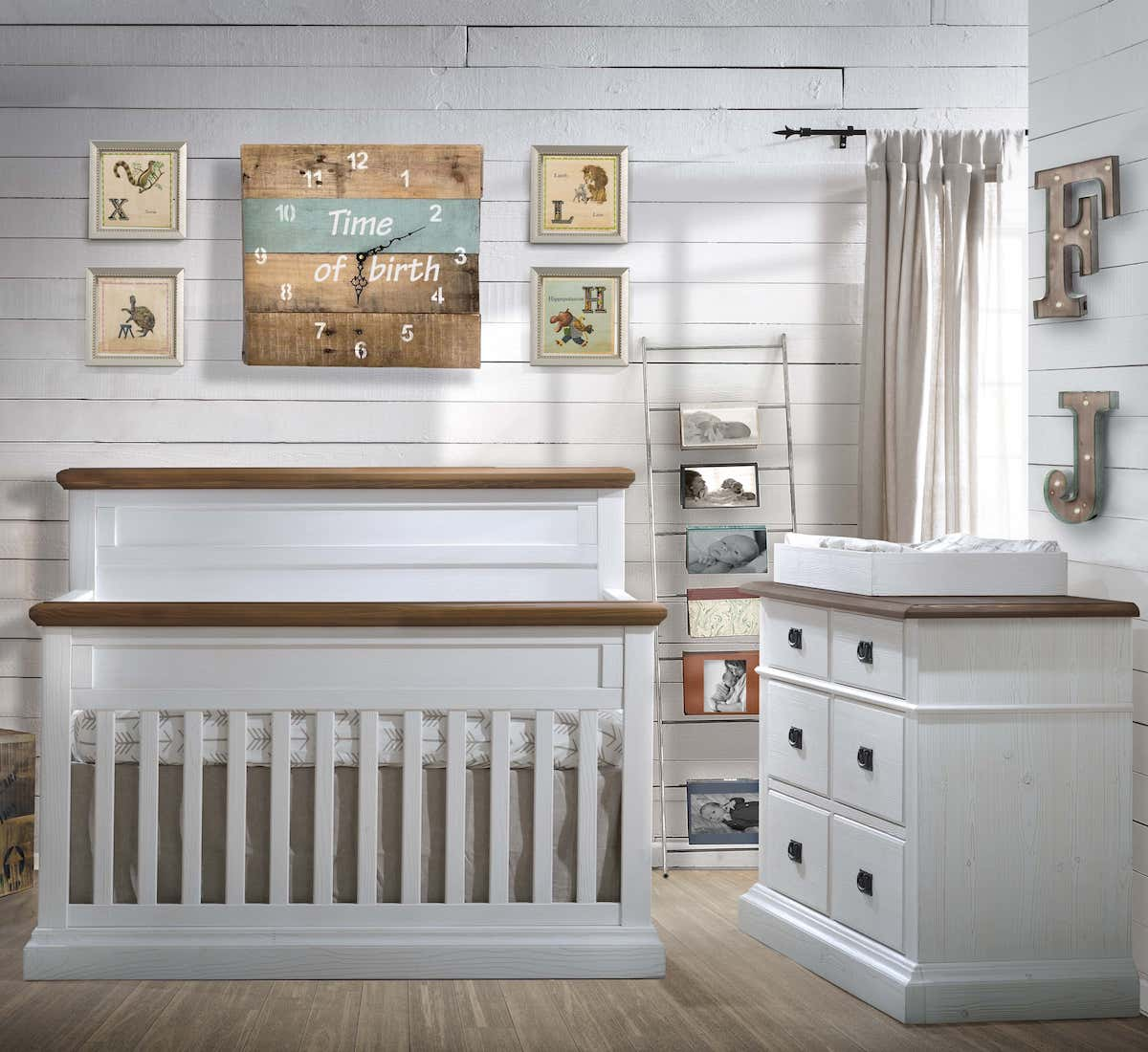 Natart Cortina Crib & Dresser - White Chalet and Cognac