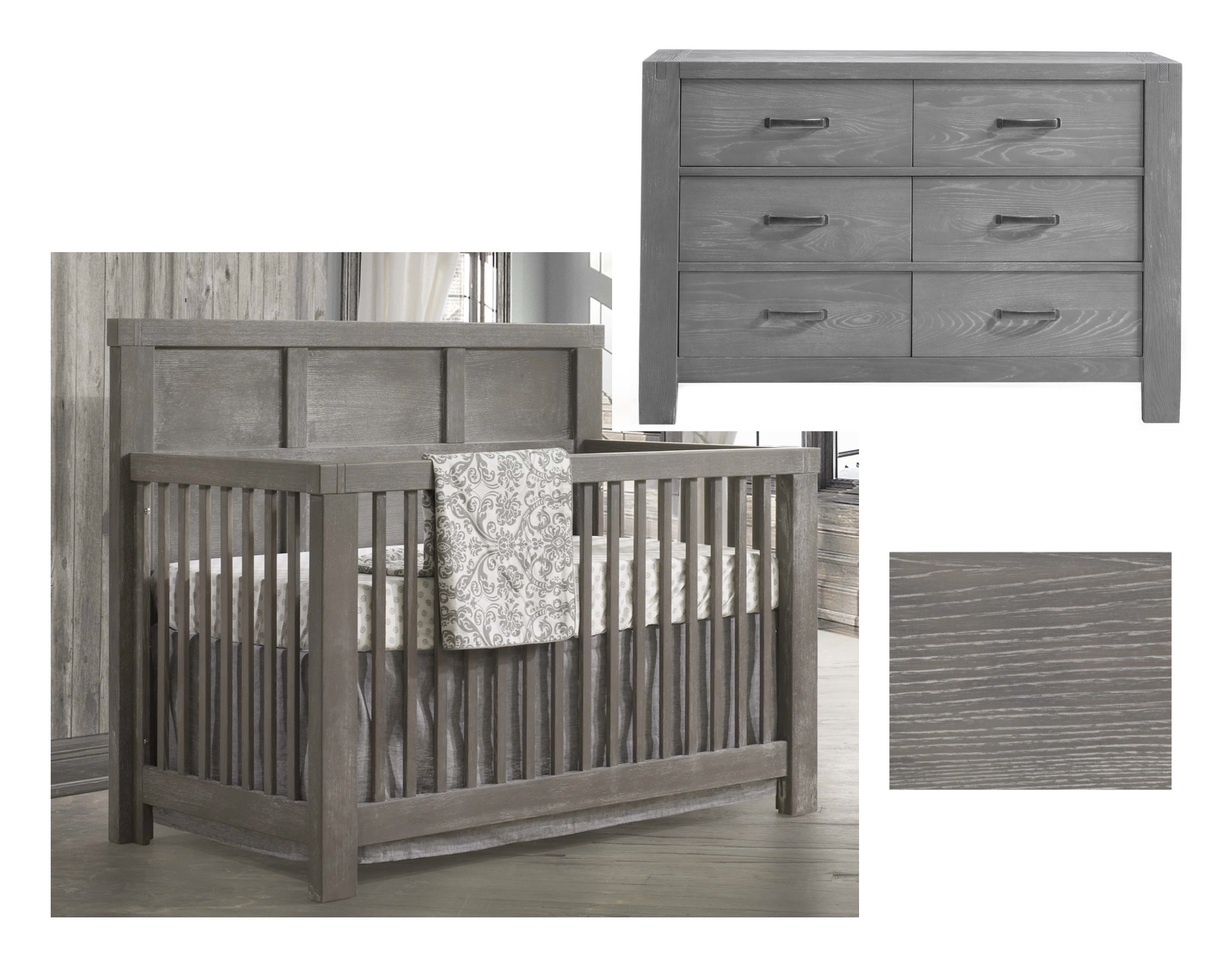 Natart Rustico Convertible Crib and Double Dresser - Owl