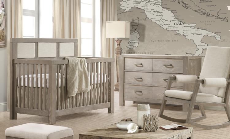 Natart Rustico Crib w/ Talc Panel and Double Dresser, Sugarcane