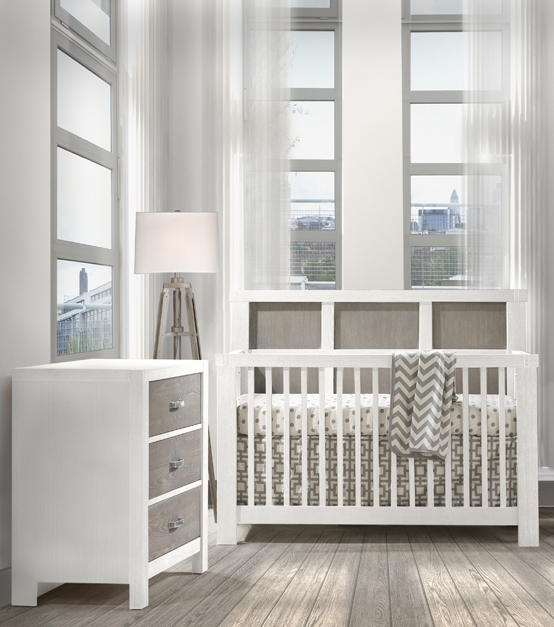 Natart Rustico Moderno Convertible Crib and 3 Drawer Dresser