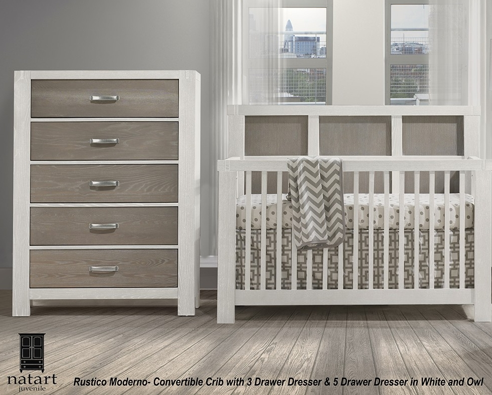 Natart Rustico Moderno Convertible Crib, Chest & Double Dresser