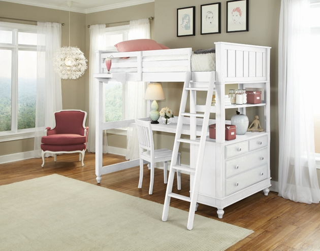 NE Kids Lake House Twin High Loft Bed with Desk, White