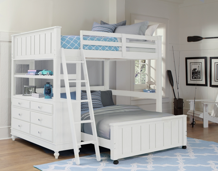 Ne Kids Lake House Full High Loft Bed With Bed White Destination Baby Kids