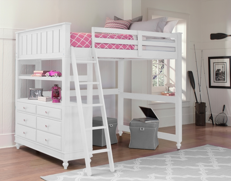 NE Kids Lake House Full High Loft Bed, White