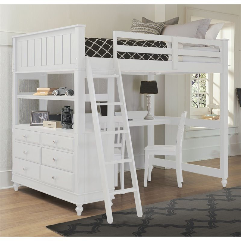 NE Kids Lake House Full High Loft Bed with Desk, White