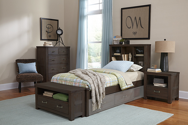 NE Kids Highlands Twin Bookcase Bed, Espresso