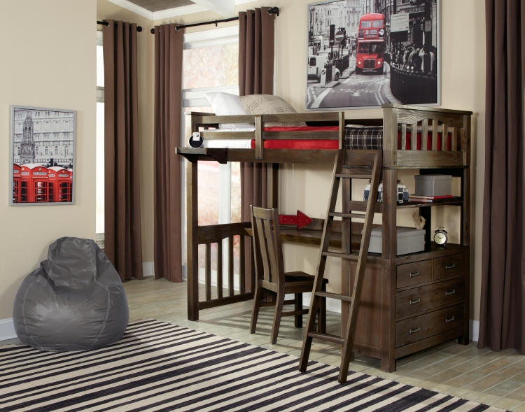 NE Kids Highlands Twin Loft Bed with Desk, Espresso