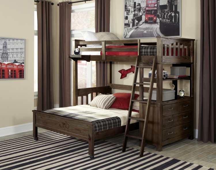 NE Kids Highlands Twin Loft Bed with Full Bed, Espresso