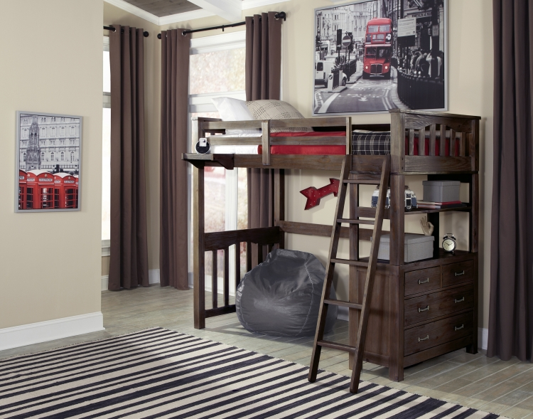 NE Kids Highlands Twin Loft Bed - Espresso