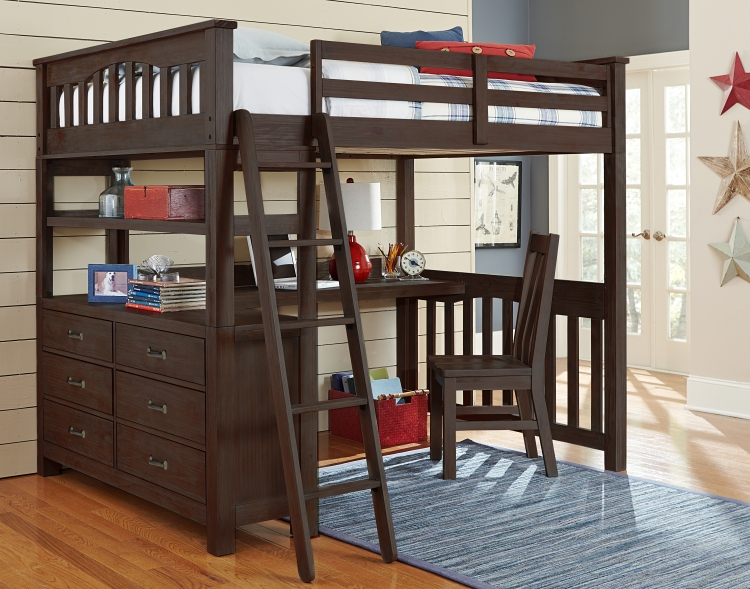 NE Kids Highlands Full Loft Bed with Desk, Espresso