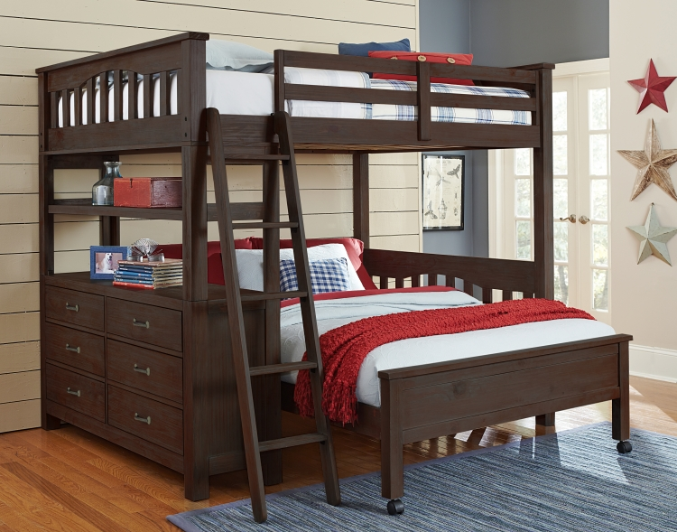 NE Kids Highlands Full Loft Bed with Full Bed - Espresso