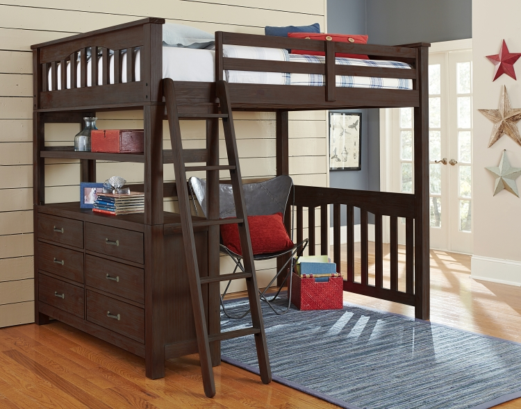 NE Kids Highlands Full Loft Bed - Espresso