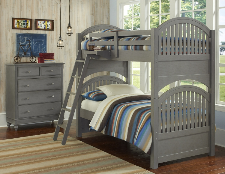 NE Kids Lake House Adrian Twin Bunk Bed, Stone Grey