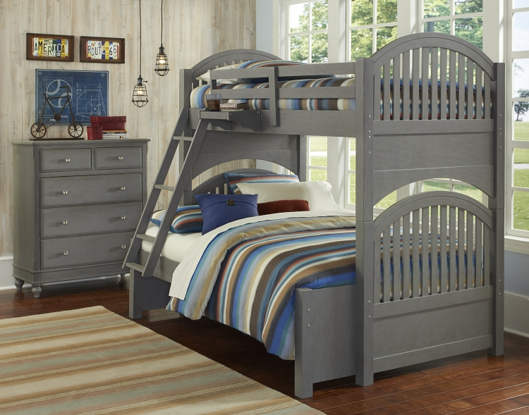 NE Kids Lake House Adrian Twin / Full Bunk Bed, Stone Grey