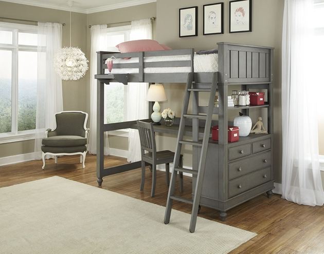 NE Kids Lake House Twin High Loft Bed with Desk, Stone Grey