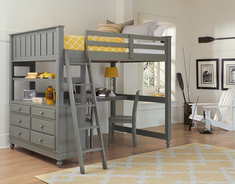 NE Kids Lake House Full High Loft Bed with Desk, Stone Grey