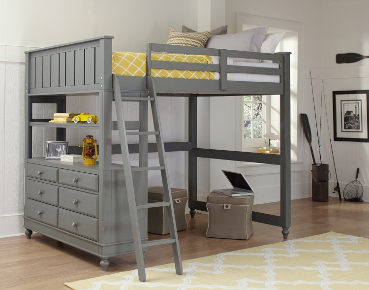NE Kids Lake House Full High Loft Bed, Stone Grey