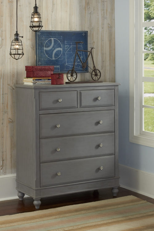 NE Kids Lake House 5 Drawer Chest, Stone Grey