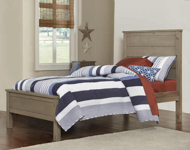 NE Kids Highlands Alex Twin Panel Bed - Driftwood
