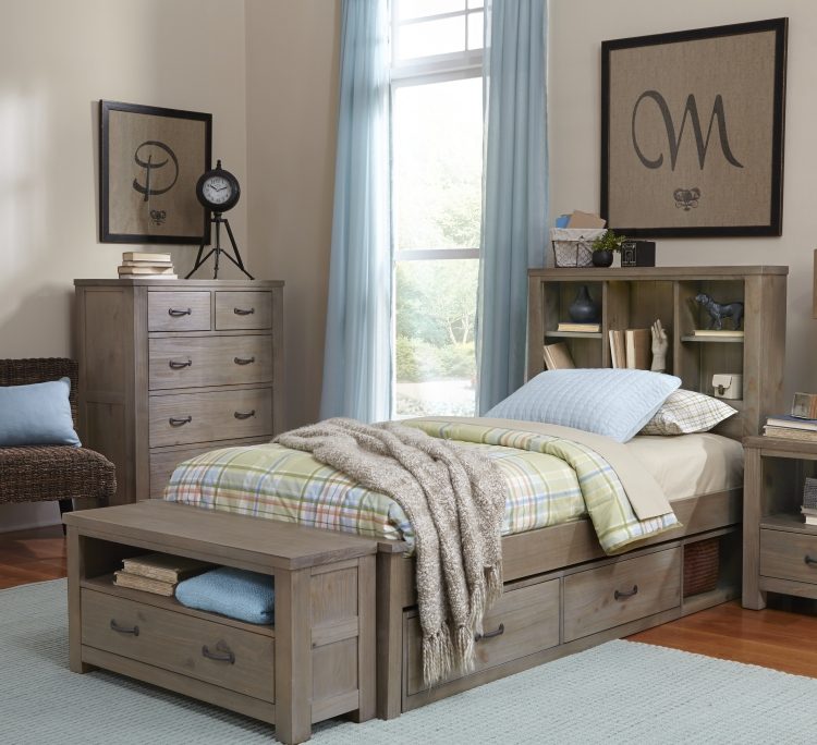 NE Kids Highlands Twin Bookcase Bed - Driftwood