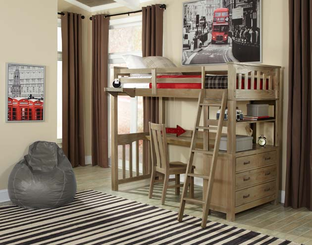 NE Kids Highlands Twin Loft Bed with Desk - Driftwood
