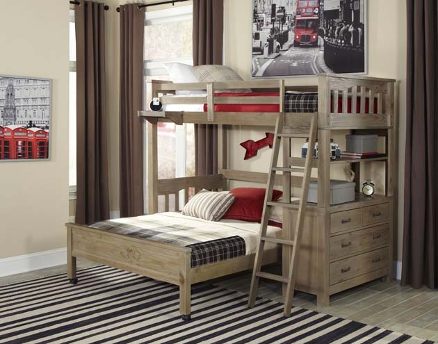 NE Kids Highlands Twin Loft Bed with Full Bed - Driftwood