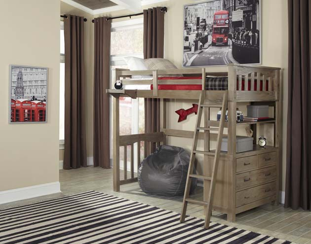 NE Kids Highlands Twin Loft Bed - Driftwood