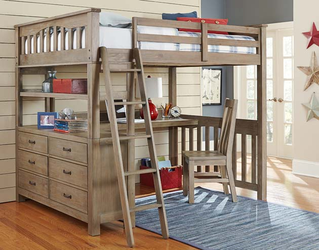 NE Kids Highlands Full Loft Bed with Desk - Driftwood